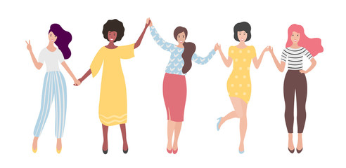 Diverse international group of standing women or girl holding hands. Sisterhood, friends, union of feminists. Flat vector illustration.