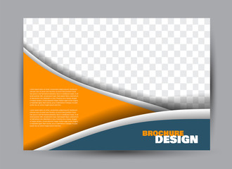 Flyer, brochure, billboard template design landscape orientation for business, education, school, presentation, website. Blue and orange color. Editable vector illustration.
