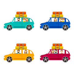 Cartoon Family Journey by Car Set. Vector