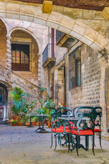 Canvas Prints Morocco Antique Building Courtyard, Gothic District, Barcelona, Spain