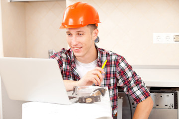 workers with a laptop