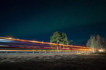 Northern Lights and light streaks