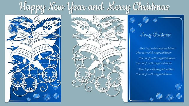 Pattern, branch with snowflakes and bell. Christmas invitation with a snowflake and a Christmas toy. Vector. Cliche. Merry Christmas and New Year. For laser cutting, plotter and silkscreen printing.
