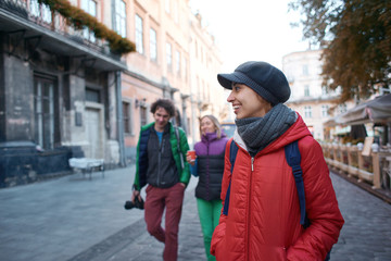group of tourists walking on the streets of Lviv