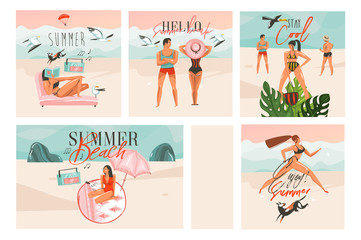 Hand drawn vector abstract graphic cartoon summer time flat illustrations cards template collection set with beach people,sunset and tropical birds isolated on white background