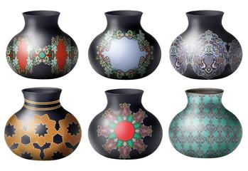 vase, isolé, broc, argile, poterie, motif floral, coloré noir, blanc, céramique, pot, céramique, antique, objet, vieux,