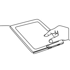 Tablet vector with continuous line art drawing style. One single hand drawn isolated on white background.