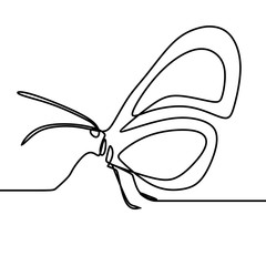 Butterfly drawing vector using continuous single one line art style isolated on white background.