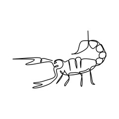 Scorpion one line art drawing vector