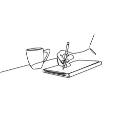 One line drawing of a hand writing on a book beside of a cup of coffee. Vector illustration minimalist continuous lineart style.