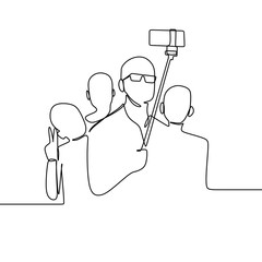 One line drawing of a group of people take a selfie using a smartphone vector illustration