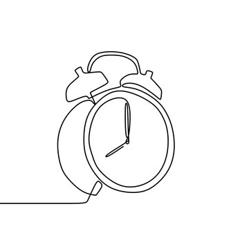 One line drawing of a alarm clock vector illustration.
