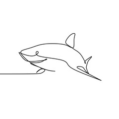 shark one line drawing minimalist vector illustration