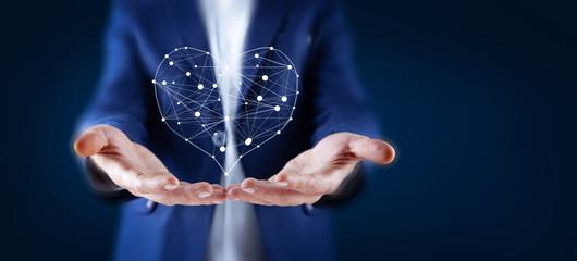 man touching heart sign
