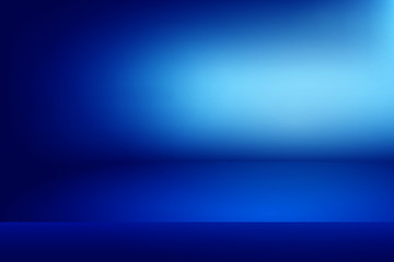 blue horizontal studio gradient wall room, Modern interior background