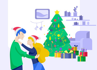 Landing page template or greeting card winter Holidays. Merry Christmas and Happy New Year Website with People Characters happy romantic couple in love hugging