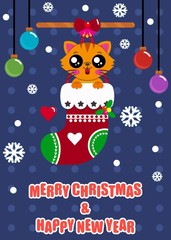 Cute Cat in Red Christmas Socks, Merry Christmas and Happy New Year, Greeting Card.