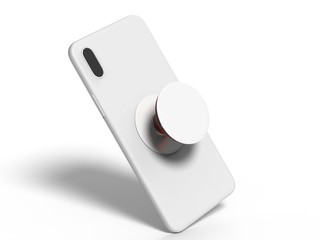 Blank smart phone pop socket stand and holder for branding. 3d rendering illustration.