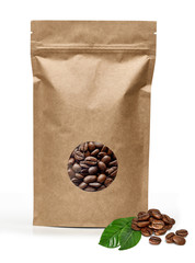 Blank brown kraft paper bag with coffee beans in transparent window on white background including clipping path