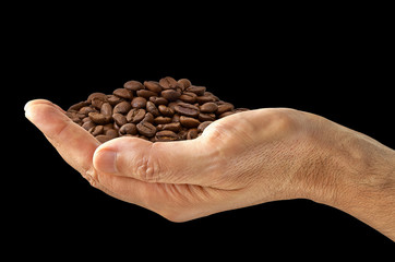 Palm of roasted coffee beans pile in hand isolated on black background