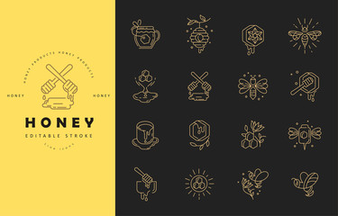 Vector icon and logo honey. Editable outline stroke size. Line flat contour, thin and linear design. Simple icons. Concept illustration. Sign, symbol, element.
