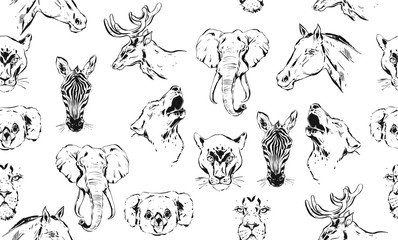 Hand drawn vector abstract artistic ink textured graphic sketch drawing illustrations seamless pattern of wildlife animals zebra, lion,puma,wolf,horse and deer heads isolated on white background