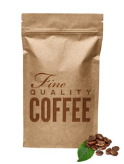 Blank brown kraft paper bag with text and coffee beans on white background