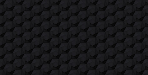 Volume realistic vector hexagon seamless  pattern, black geometric tiles texture, design light background for you projects