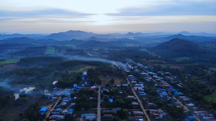 Beautiful scenery of rural villages, sunrise, great mountain views and aerial views.