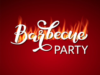 Barbecue party lettering with fire flames. Vector illustration