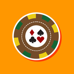 paper sticker on stylish background poker chips