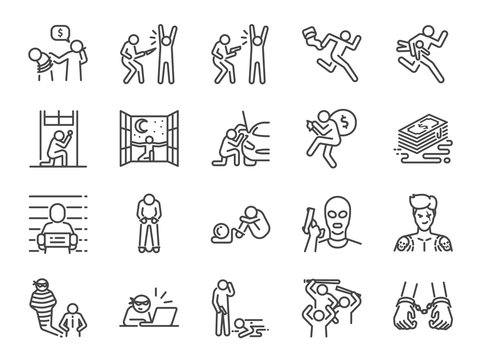 Criminal line icon set. Included the icons as outlaw, crime, homicide, arrest, prisoner and more.
