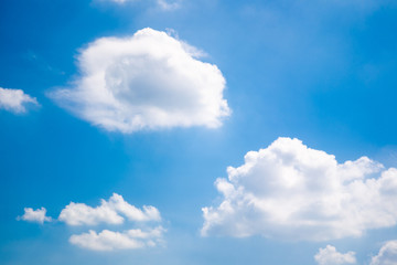 Beautiful big white clouds in the blue sky in sunny day.