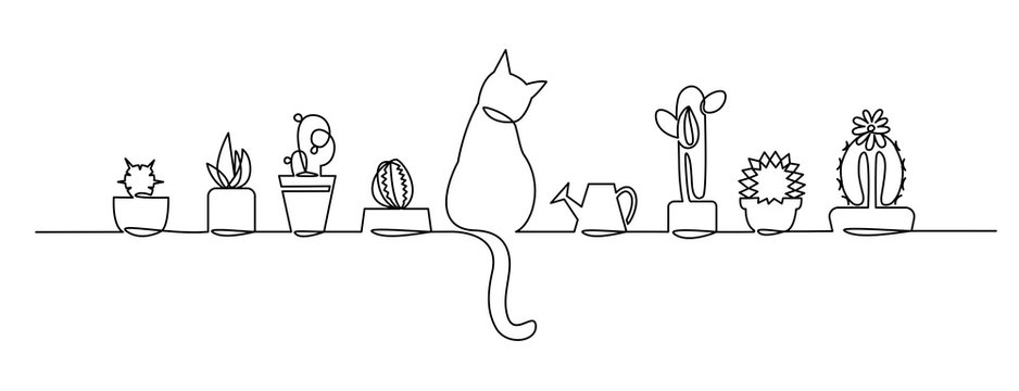 Continuous one Line Drawing of Vector Cute Cactus. Black and White Sketch House Plants with a cat and a watering can on the window sill.
