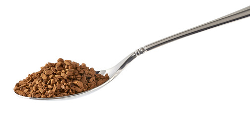 Instant granulated coffee in spoon isolated on white background