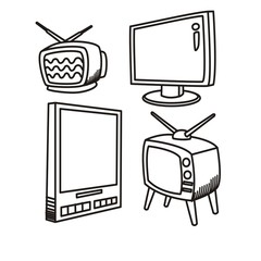 the development of television technology vector illustration