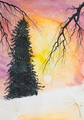 bright winter sunset