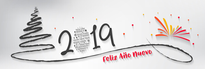 Spanish Happy New Year greeting card - New Year 2019