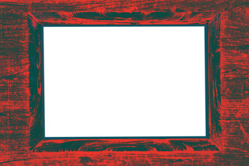 red black strict painted wooden frame passepartout on white background