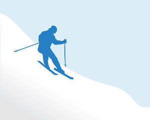 People-Silhouette of a Man Skiing Down a Snow Covered Hill
