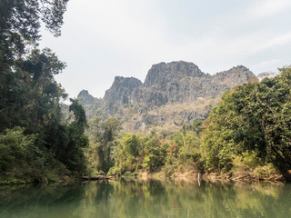 konglor river and the mountais above the cave