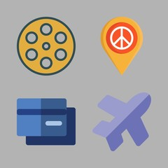commercial icon set. vector set about flight, placeholder, credit card and film icons set.