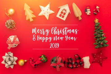 festive celebration background ideas concept with christmas eve holiday decorating items red color floor with free copy space