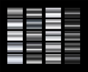 Different metal gradients vector set