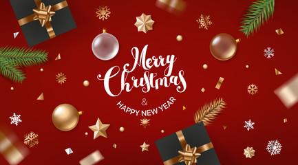 Merry Christmas and Happy New Year. Holiday greeting frame. Banner with golden bauble and confetti. Top view