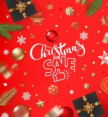 Christmas sale concept. Banner with baubles and confetti. Top view