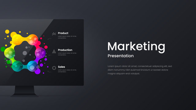 Creative horizontal website screen for responsive web design project development. Monitor mock up bright colorful banner layout. Corporate marketing landing page block vector illustration template.