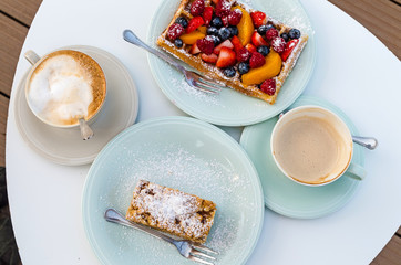 Breakfast with Apple Pie, Waffle and Coffee