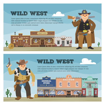 Wild west vector cowboy character saloon western building house in street countryside illustration wildly backdrop of country landscape with construction in town background