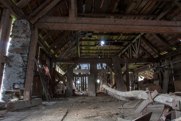 inside of an old barn